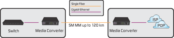 Gigabit ethernet media converter application
