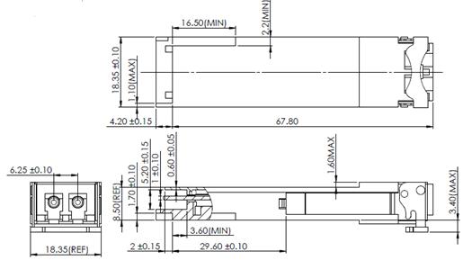 QSFP transceiver dimensions