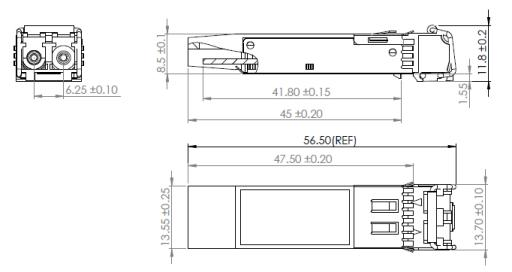 SFP+ transceiver dimensions