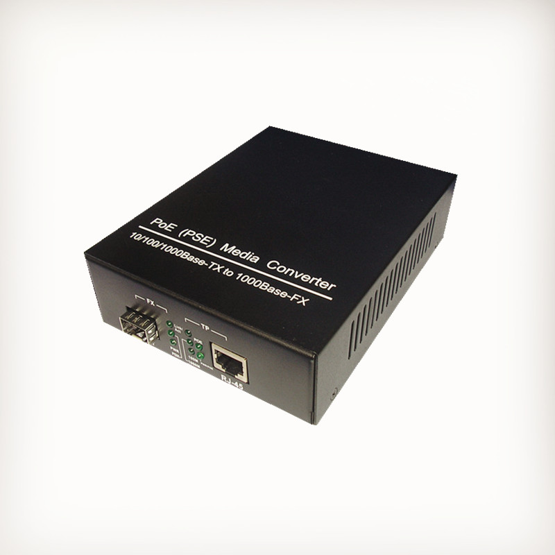 PoE (PSE) 10/100/1000Base-TX to 1000Base-FX SFP slot Media Converter